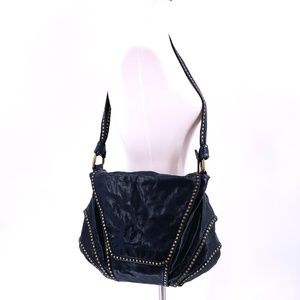 KOOBA Black Leather Studded Flap Front Shoulderbag